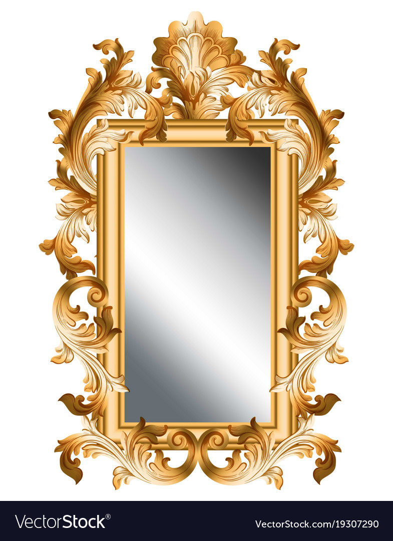 Mirror golden frame realistic 3d volume Royalty Free Vector
