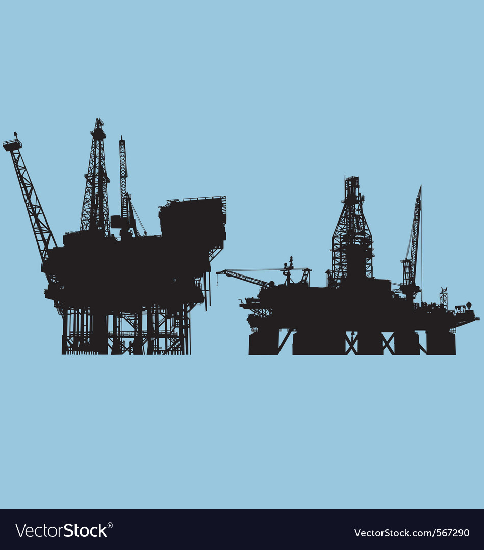 Offshore oil platform vector image
