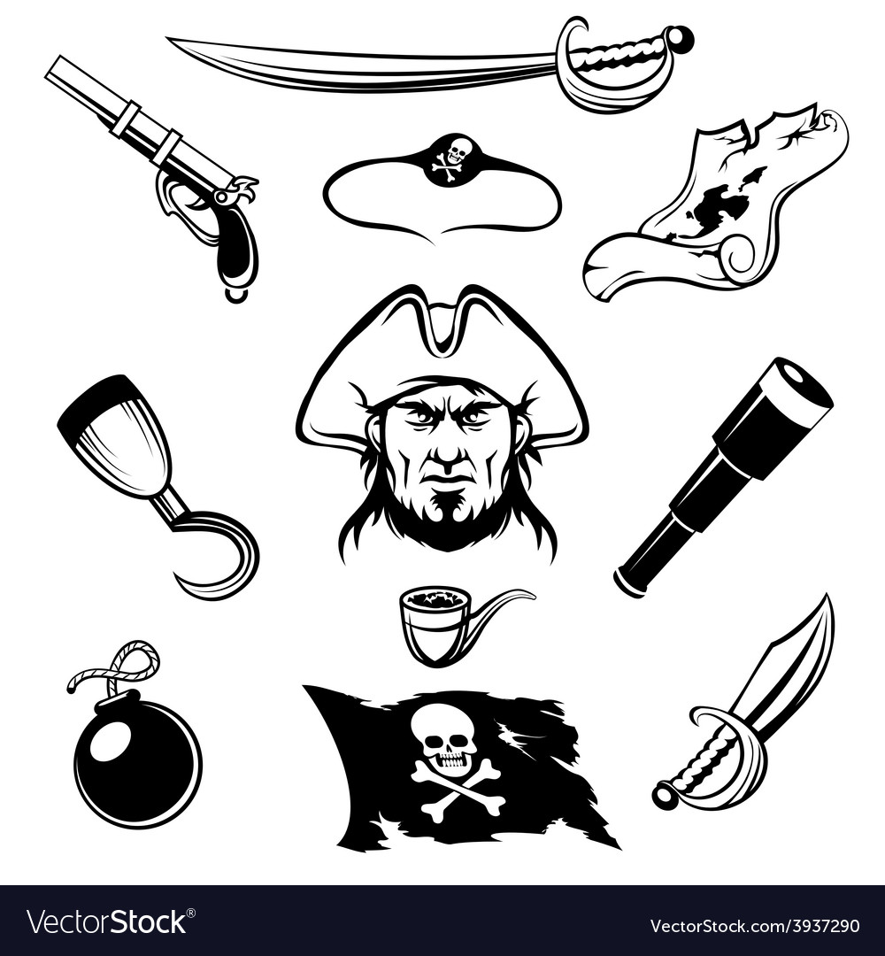 Piirate icons vector image