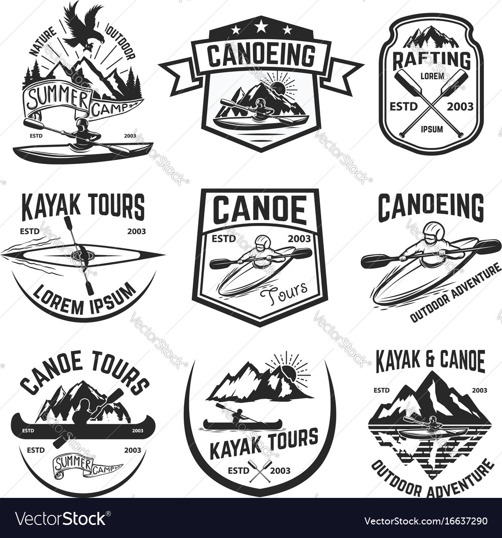 Set of canoeing and kayaking tours emblems
