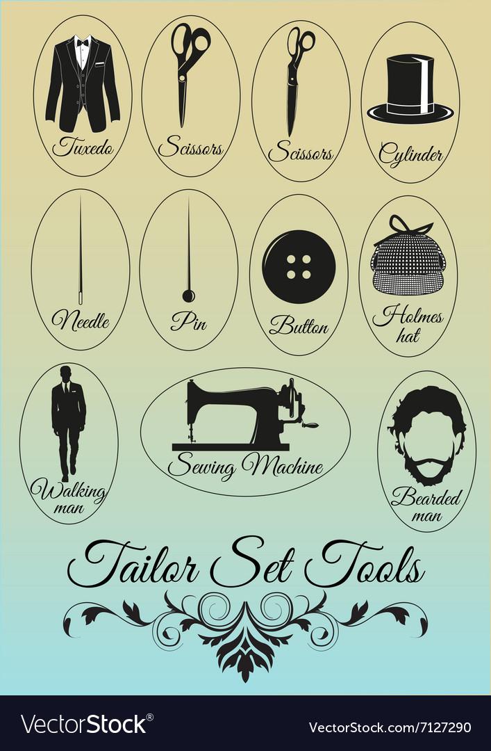Set of tailor shop black items