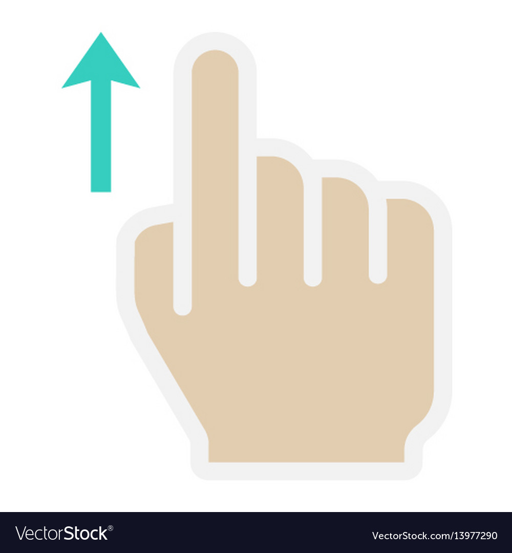 Swipe up flat icon touch and hand gestures