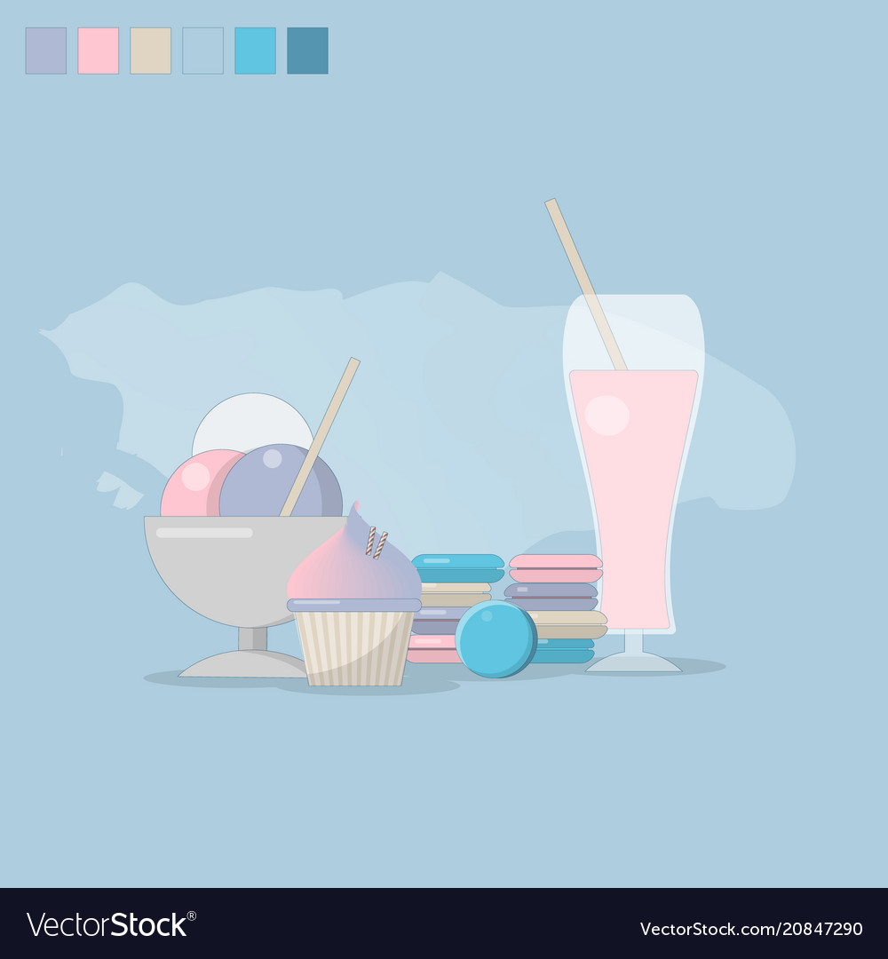 The concept of desserts is a gentle background