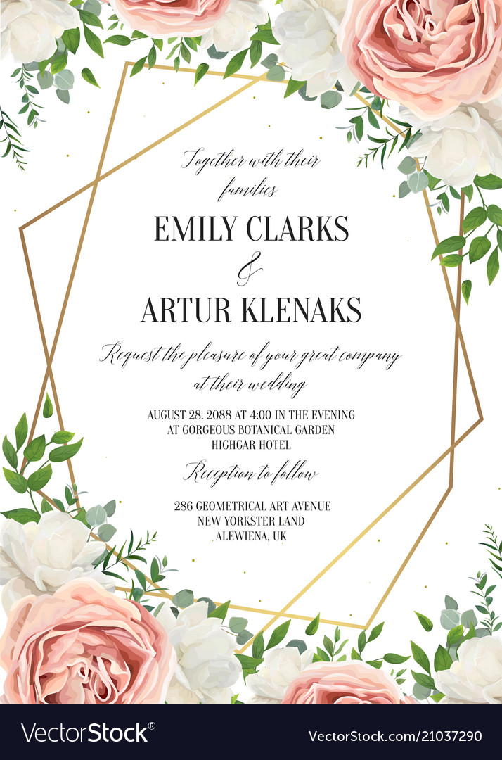 Wedding floral invite invtation card design vector image