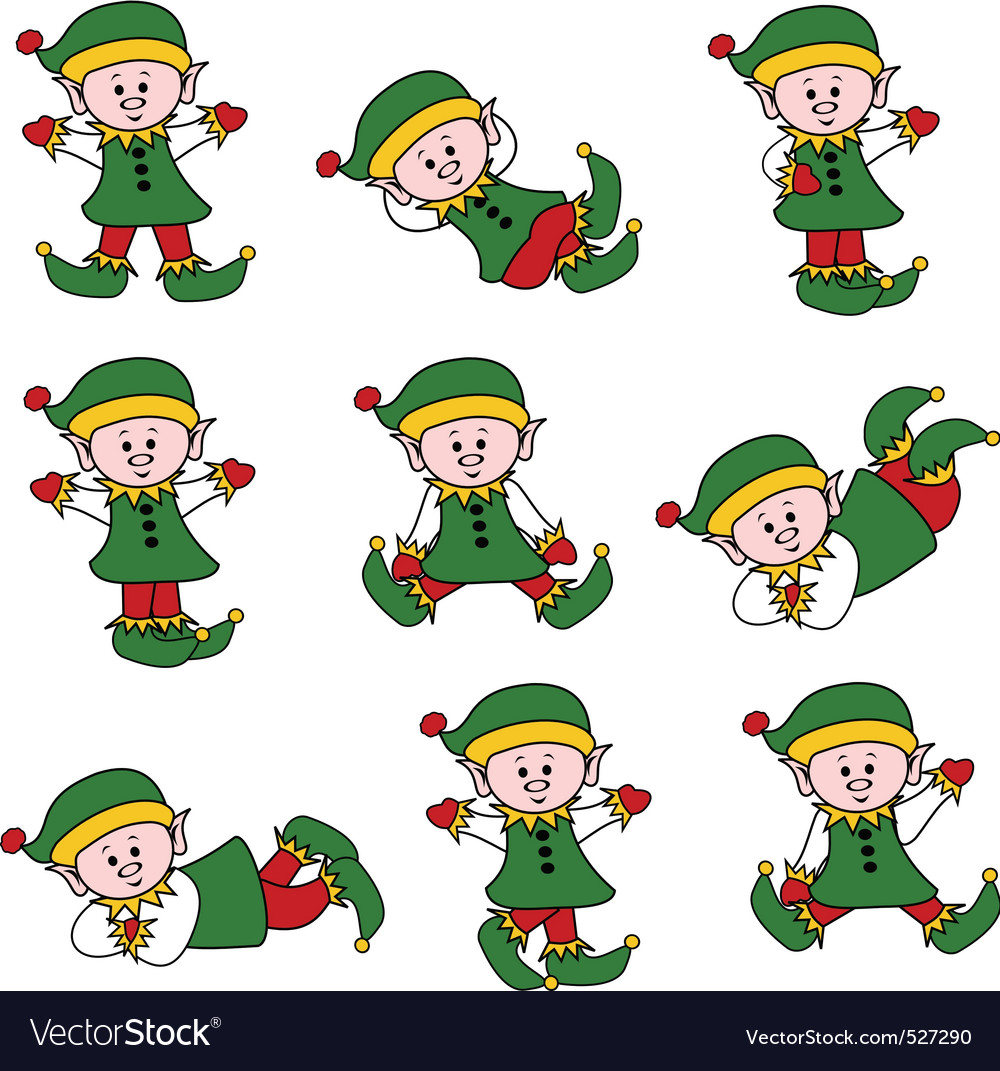 Xmas cute elf set vector image