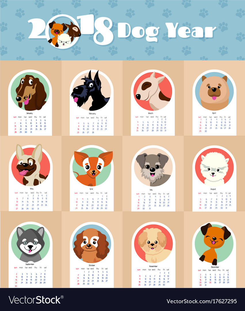 2018 new year calendar with cute and funny puppy vector image