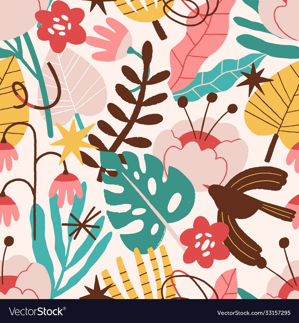 Abstract plant flowers bird curves seamless