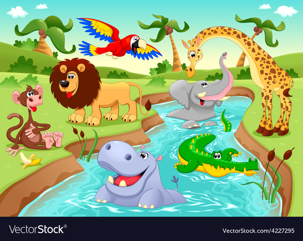 African animals in the jungle