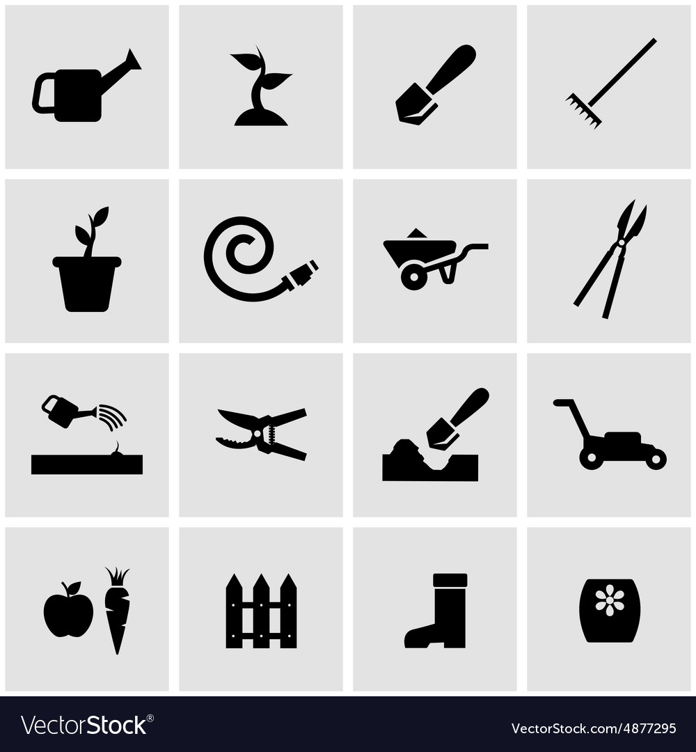Black gardening icon set