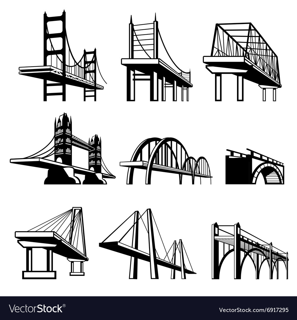 Bridges in perspective icons set