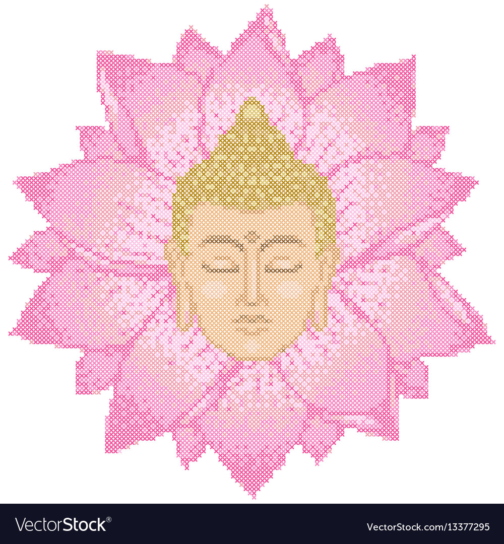 Buddha head and lotus cross stitch