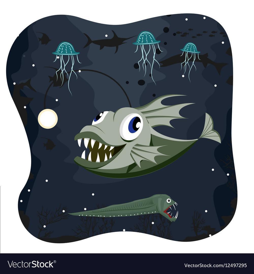 Deep water angler fish with marine life