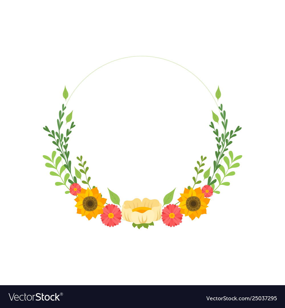 Floral wreath circle frame with blooming flowers