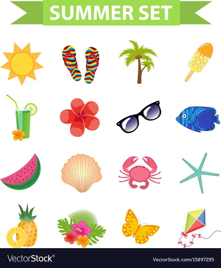 Hello summer icon set flat cartoon style beach