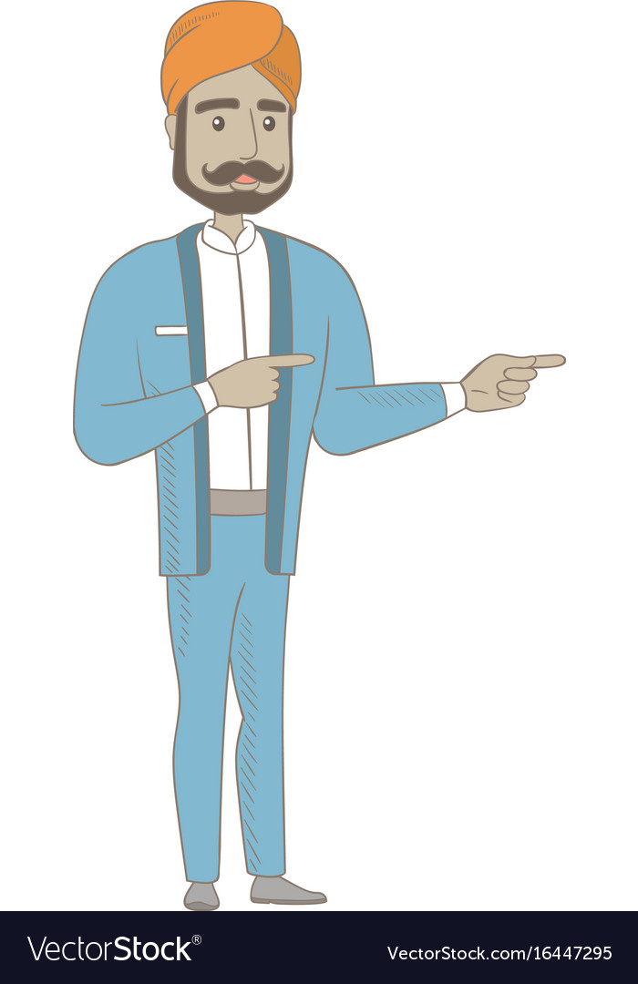 Hindu businessman pointing to the side vector image