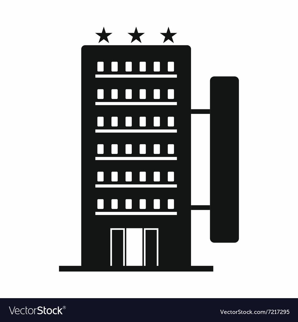 Hotel Building Black Simple Icon Royalty Free Vector Image