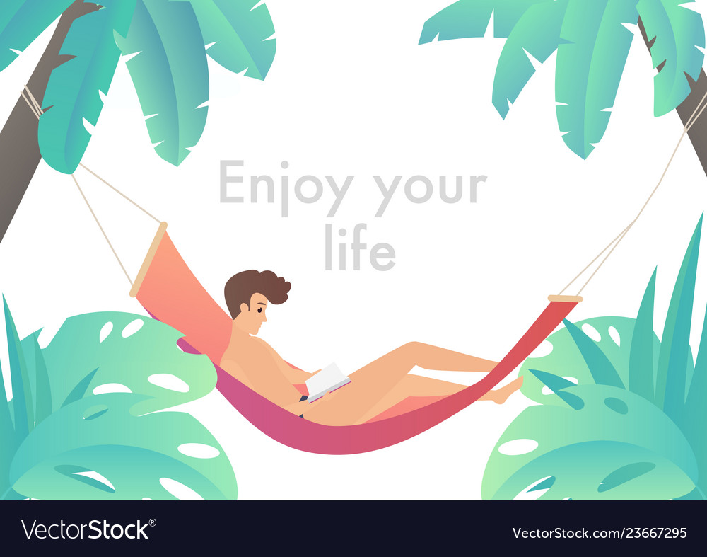Man at beach hammock reading book and relaxing