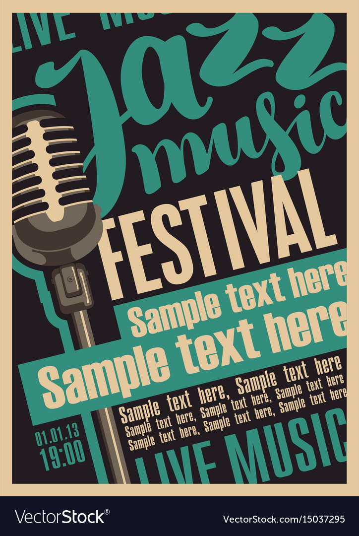 Retro poster for the jazz festival with microphone