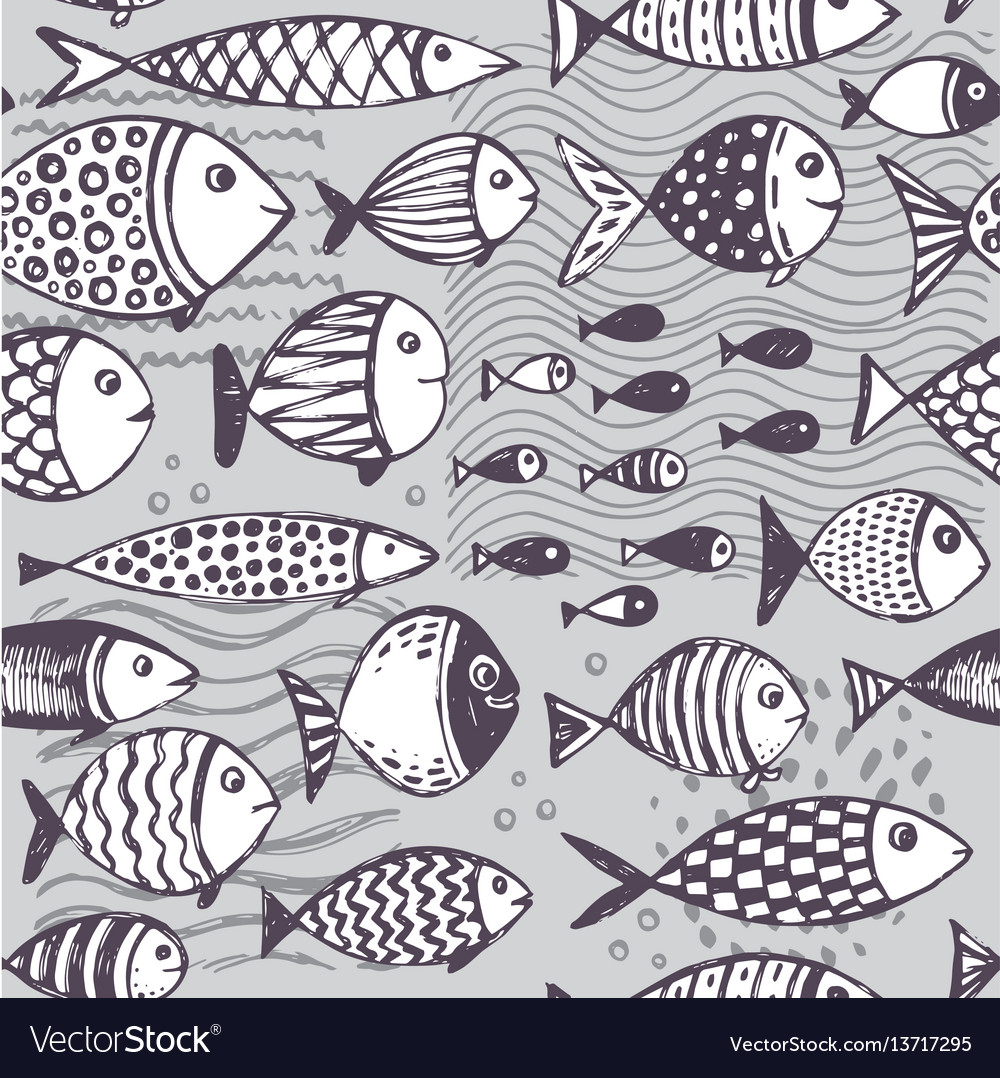Seamless pattern with hand drawn funny fishes in