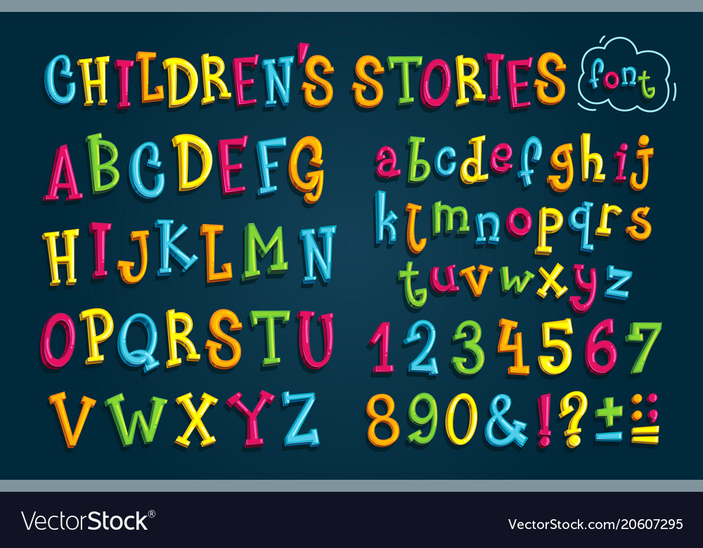Set colored font childrens stories