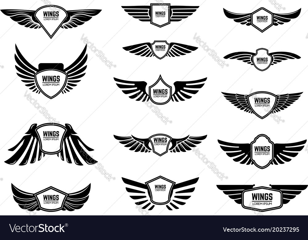 Set of blank emblems with wings design elements