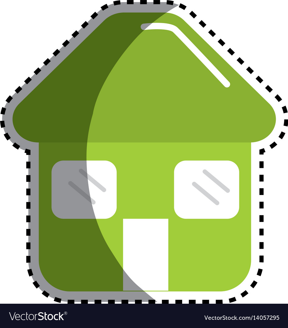Sticker green house with door roof and windows