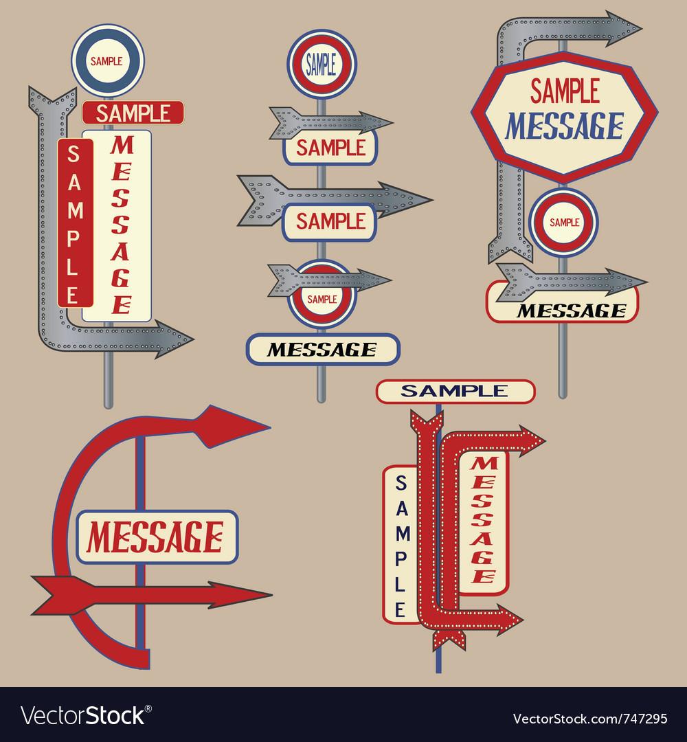 Vintage signpost elements vector image