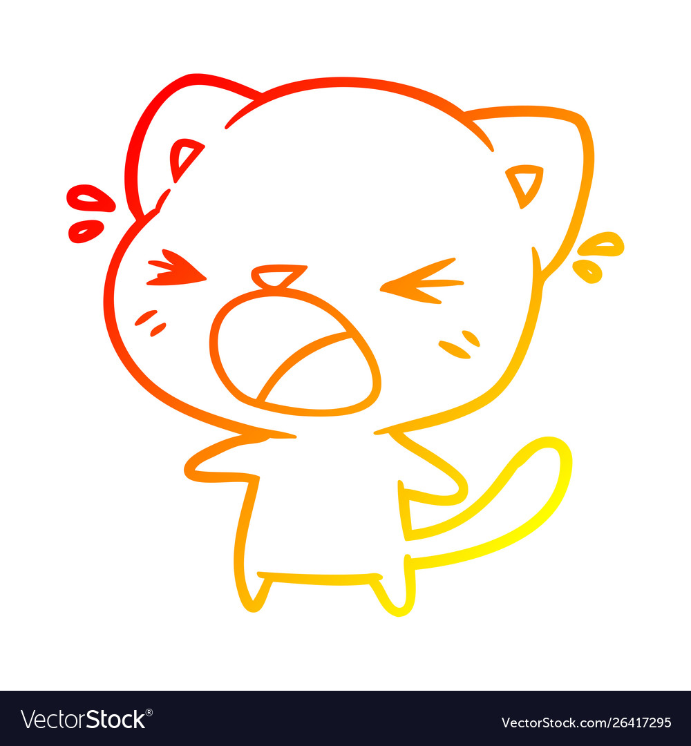Warm gradient line drawing cute cartoon cat crying