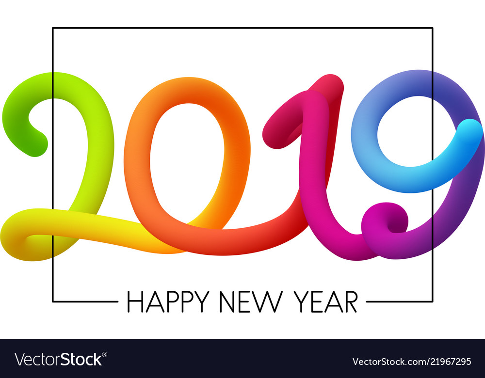 White Happy 2019 New Year Poster With Neon Figures Vector Image