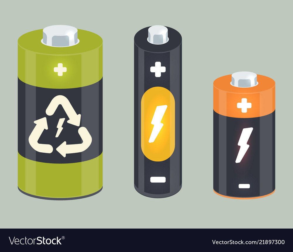 Battery cylinder elements with lightning