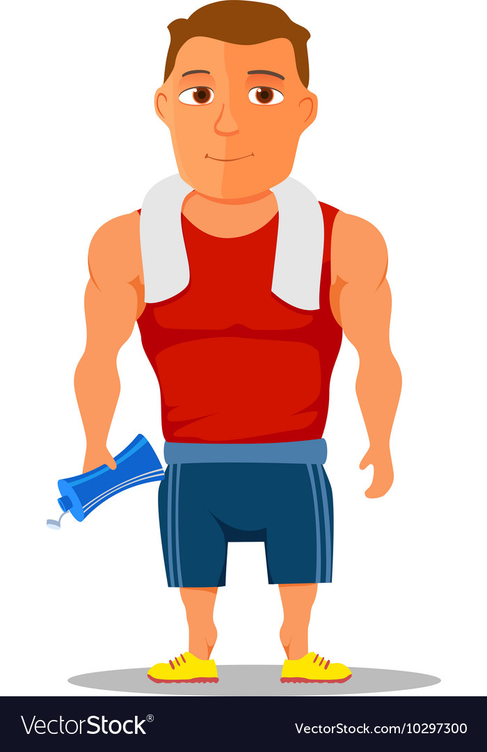 Cartoon guy after work out with towel and water