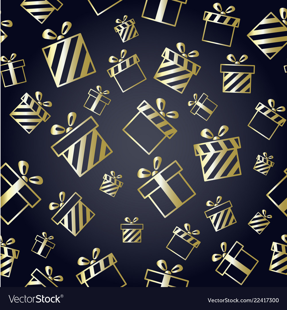 Christmas pattern with gold gift boxes on