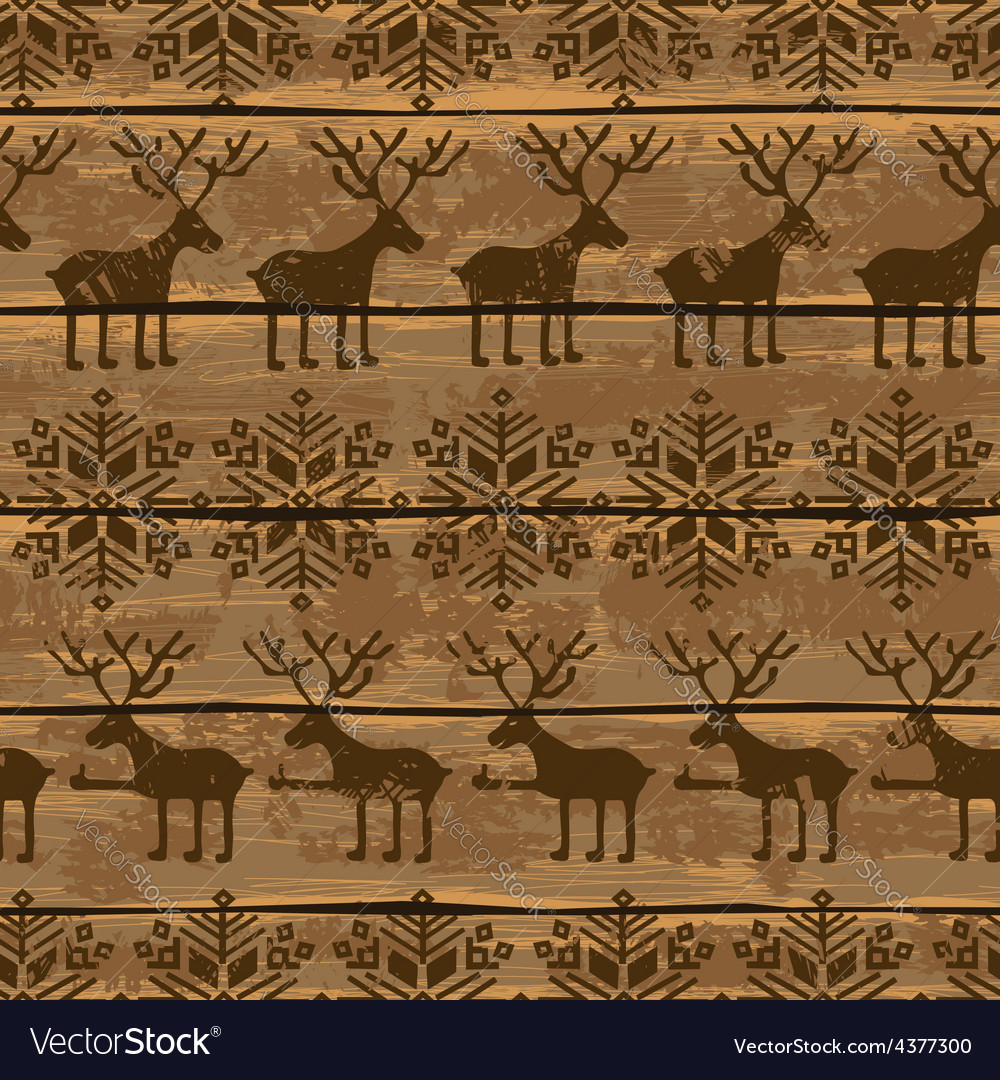 Christmas seamless pattern with deers and