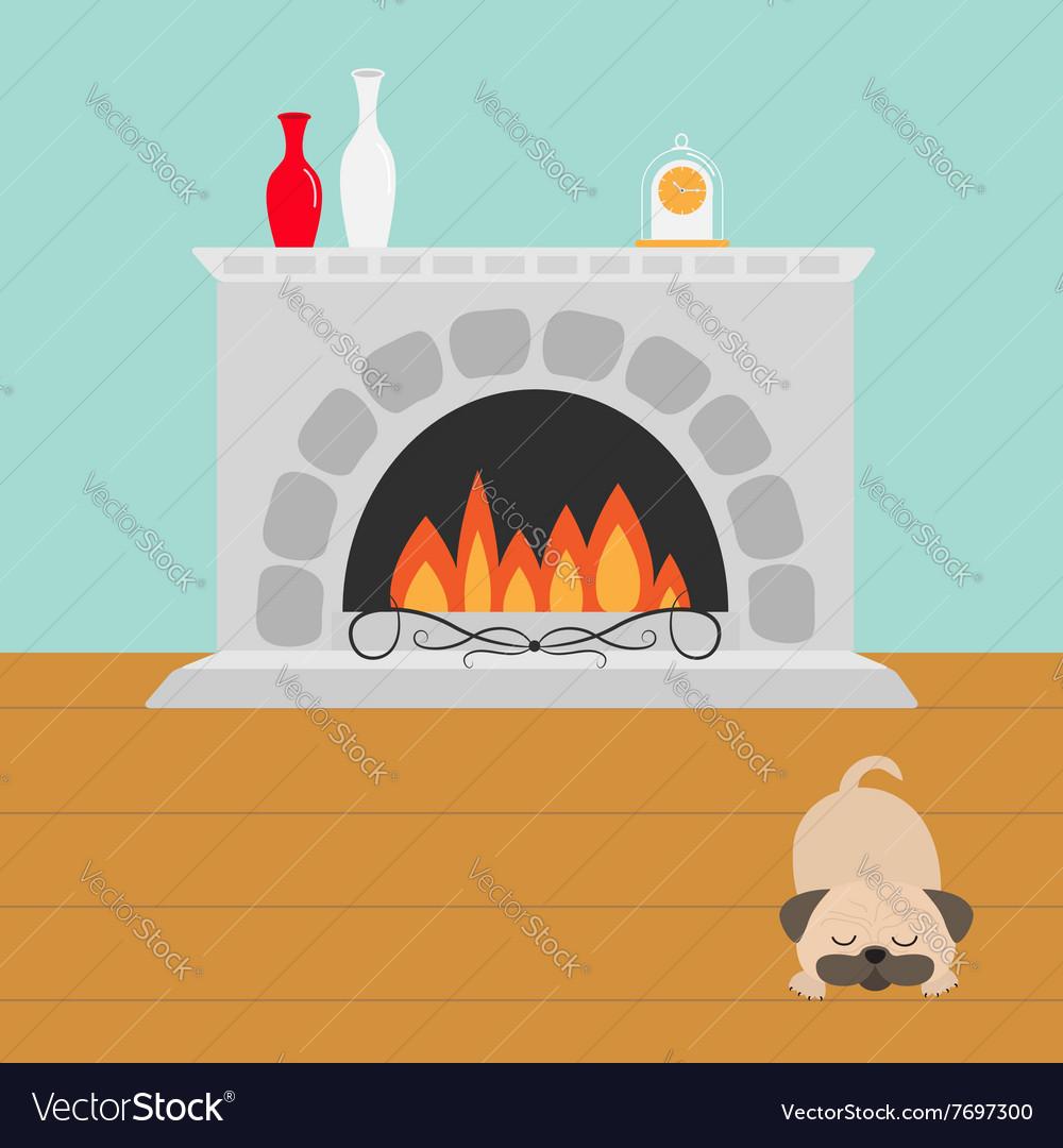 Fireplace with fire Sleeping mops pug dog Vase set