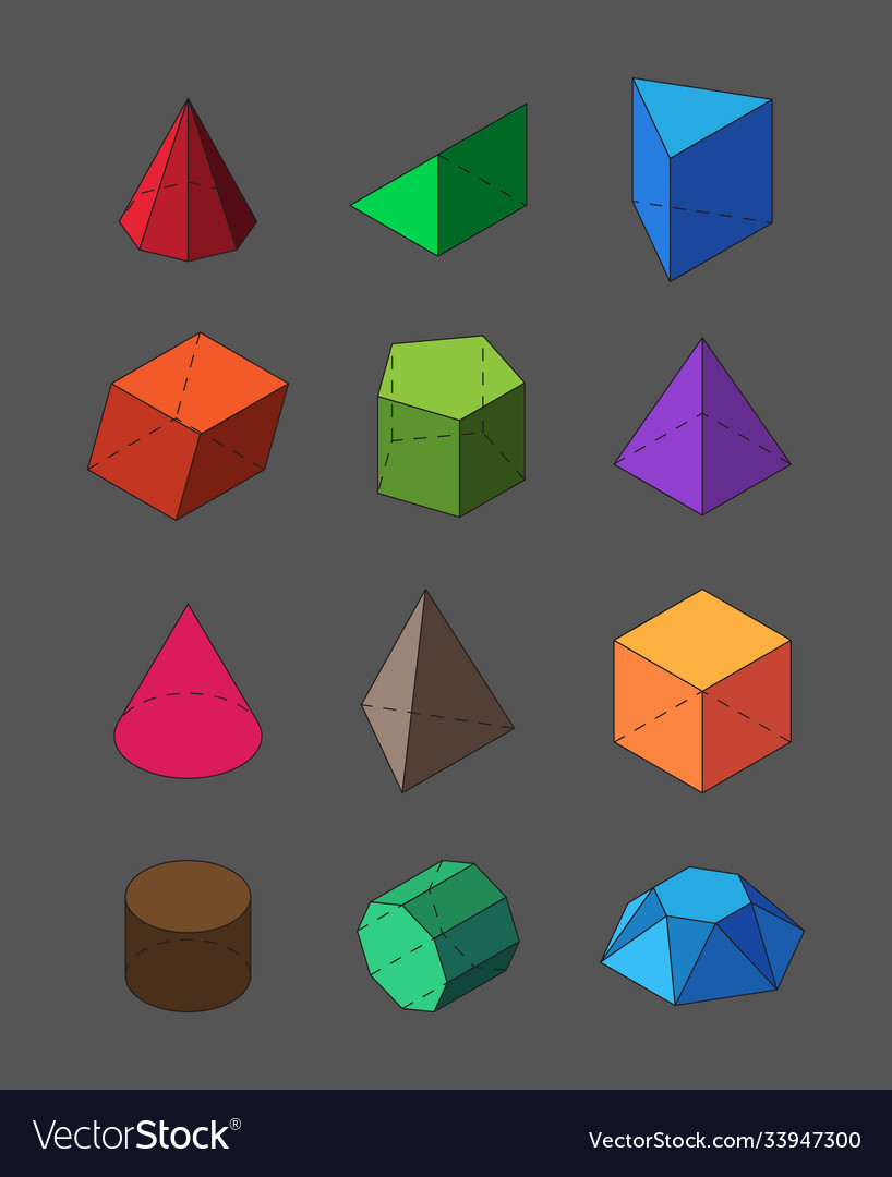 Geometric shapes isometric set pyramidal red vector