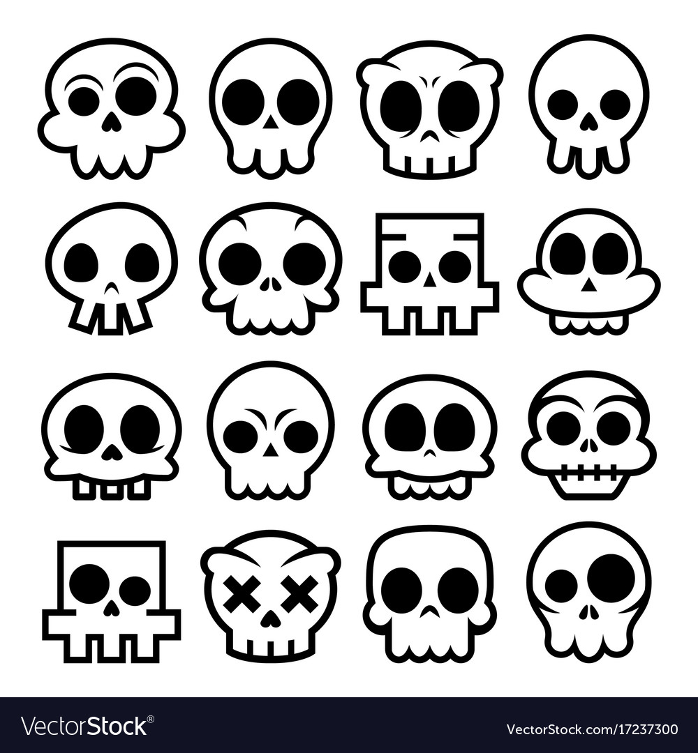 Halloween cartoon skull icons mexican cute
