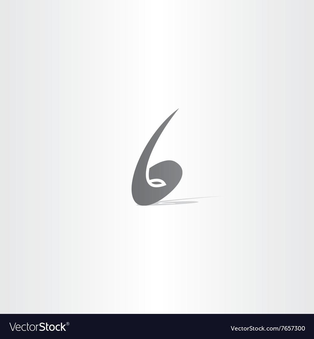 Number 6 no six black logo icon