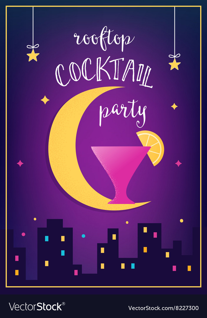 rooftop cocktail party invitation card royalty free vector