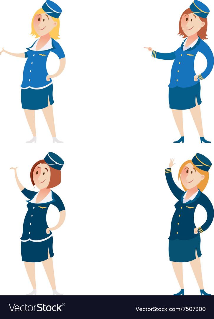 Set of Stewardess vector image