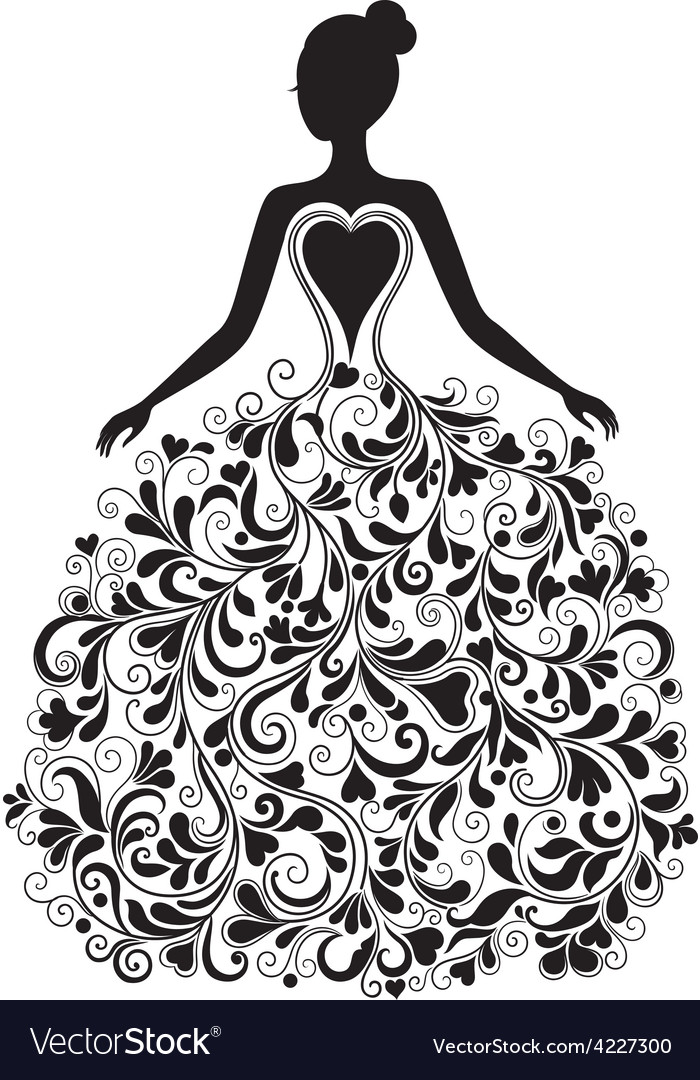 Silhouette of beautiful dress
