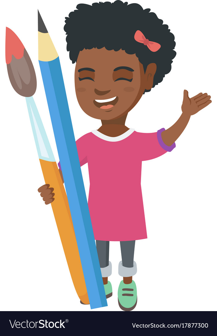 Smiling girl holding big pencil and paintbrush