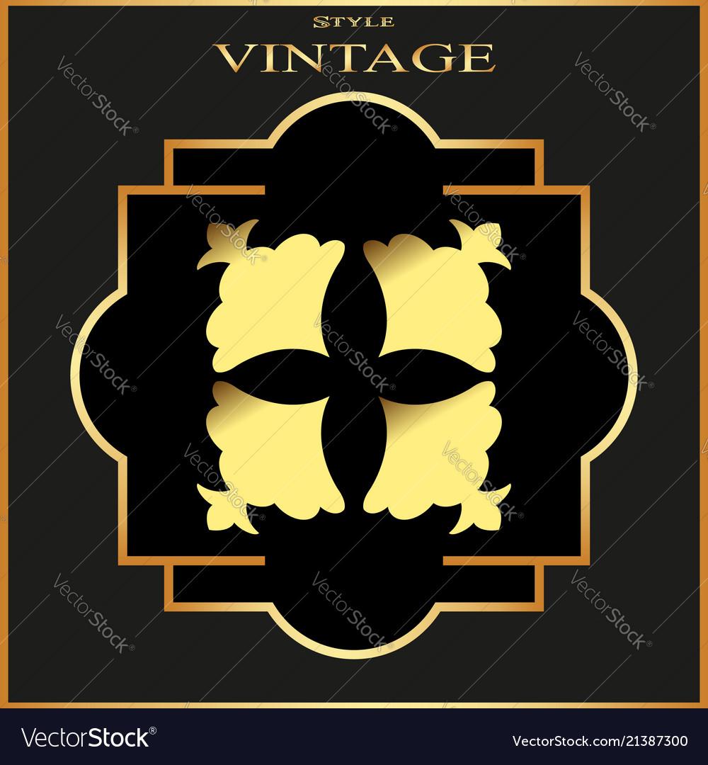 Vintage ornamental golden retro frame template