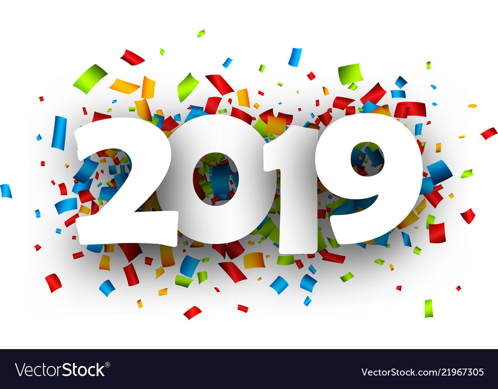 2019 new year festive background with confetti vector image