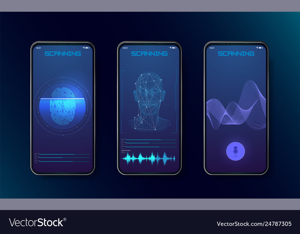 Biometric fingerprint scanners face recognition