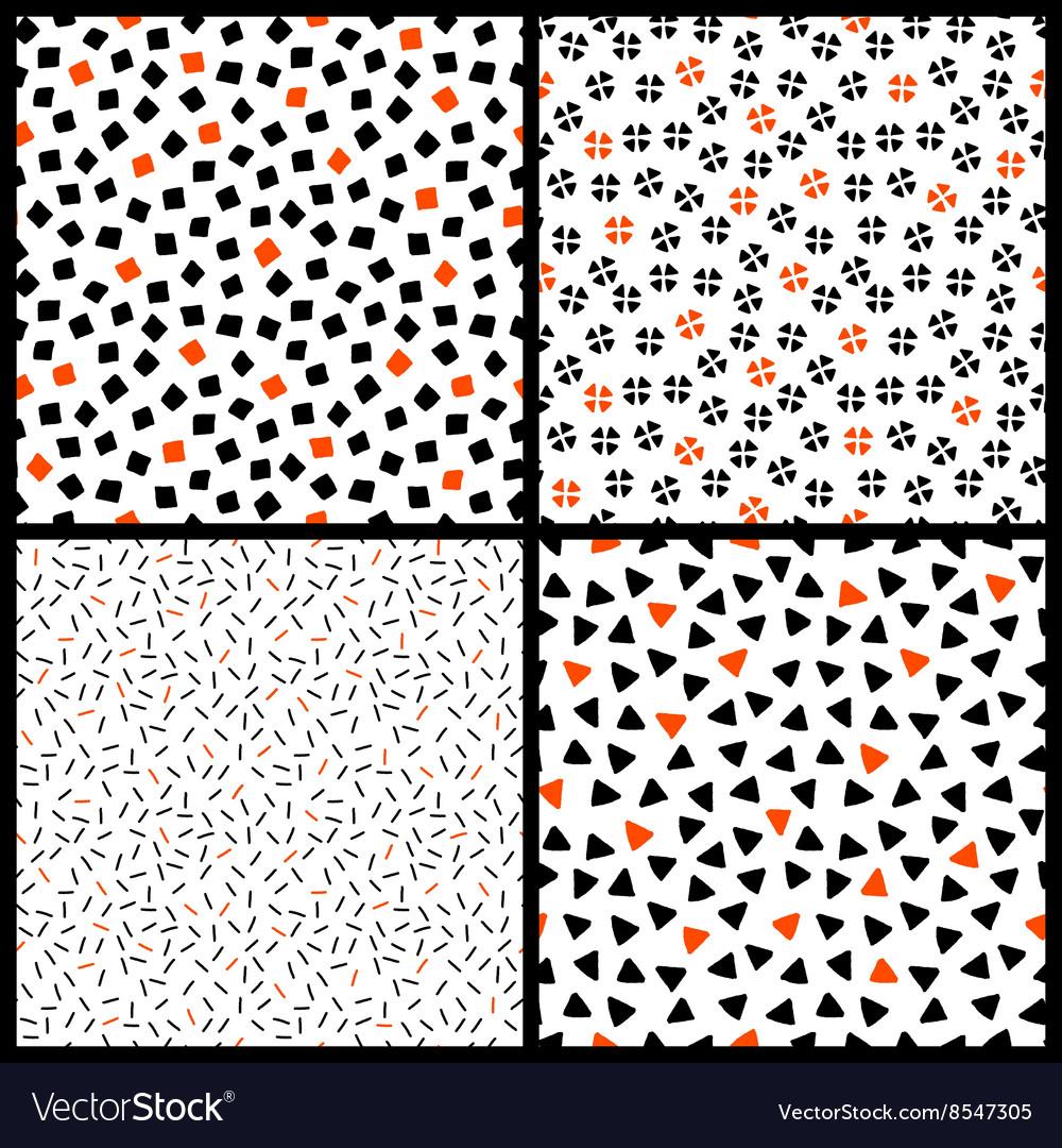 Black white and orange chaotic ethnic geometric