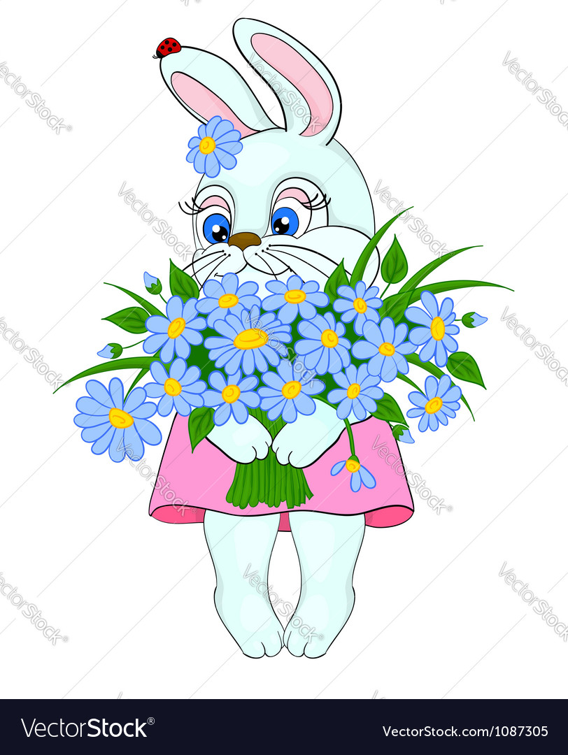 Cartoon bunny with a big bouquet of flowers daisie