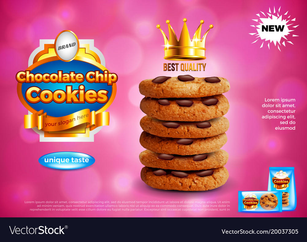 Chocolate Chip Cookies Ads Background Royalty Free Vector