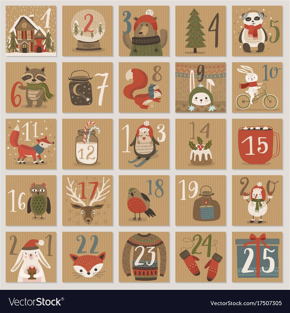 Christmas advent calendar hand drawn style vector image