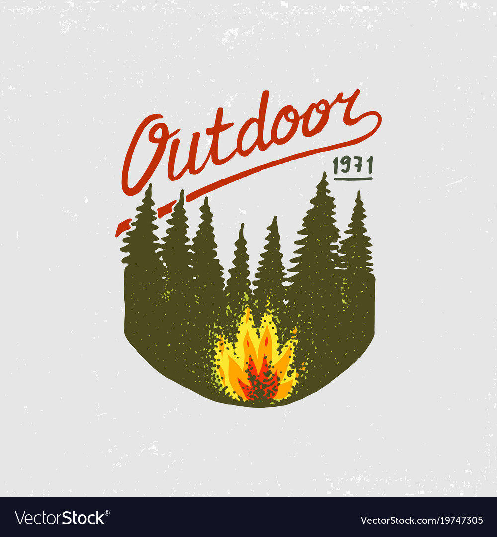 Coniferous forest mountains and wooden logo