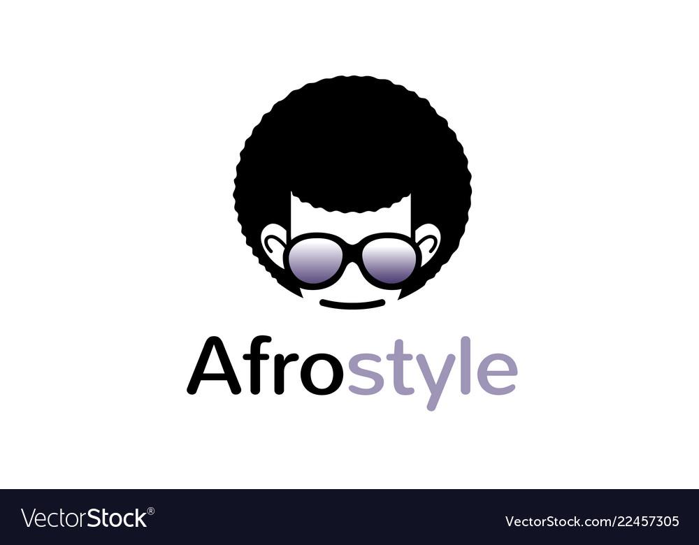 Creative geek afro hairstyle logo